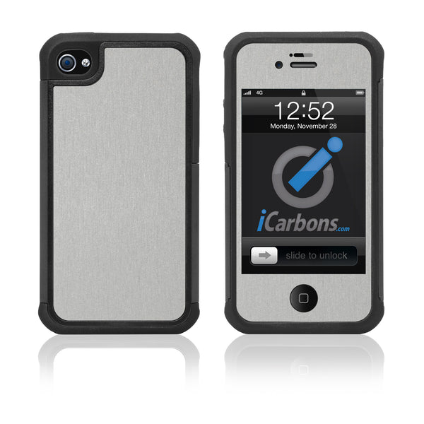 iPhone 4 / 4S HD Skin Case - Brushed Metal - iCarbons - 1