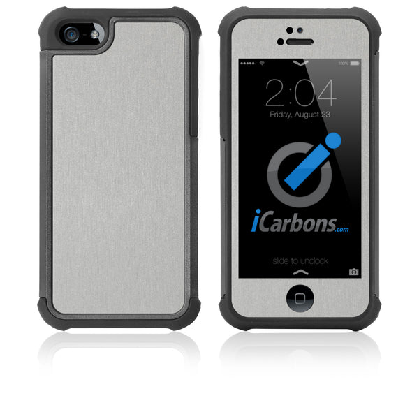 iPhone 5 / 5S HD Skin Case - Brushed Metal - iCarbons - 1
