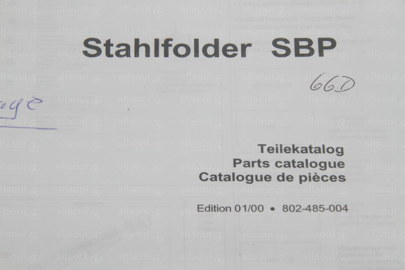 Product photo 802-485-004 Spare Parts Stahlfolder SBP, Teilekatalog Stahlfolder SBP