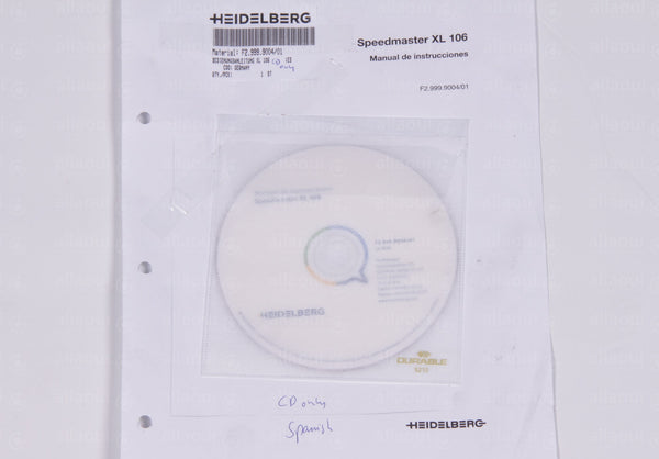 Product photo F2.999.9004/01 Documentation XL 106 Spanish CD only , Bedienungsanleitung XL 106 Spanisch CD