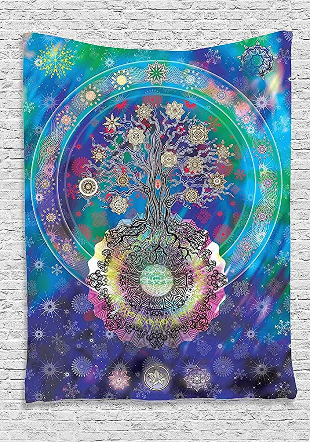 Tapestry Tree of Life with Floral Style Mandala Spiritual Artwork