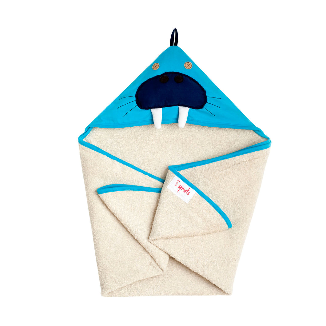 walrus hooded towel - blue