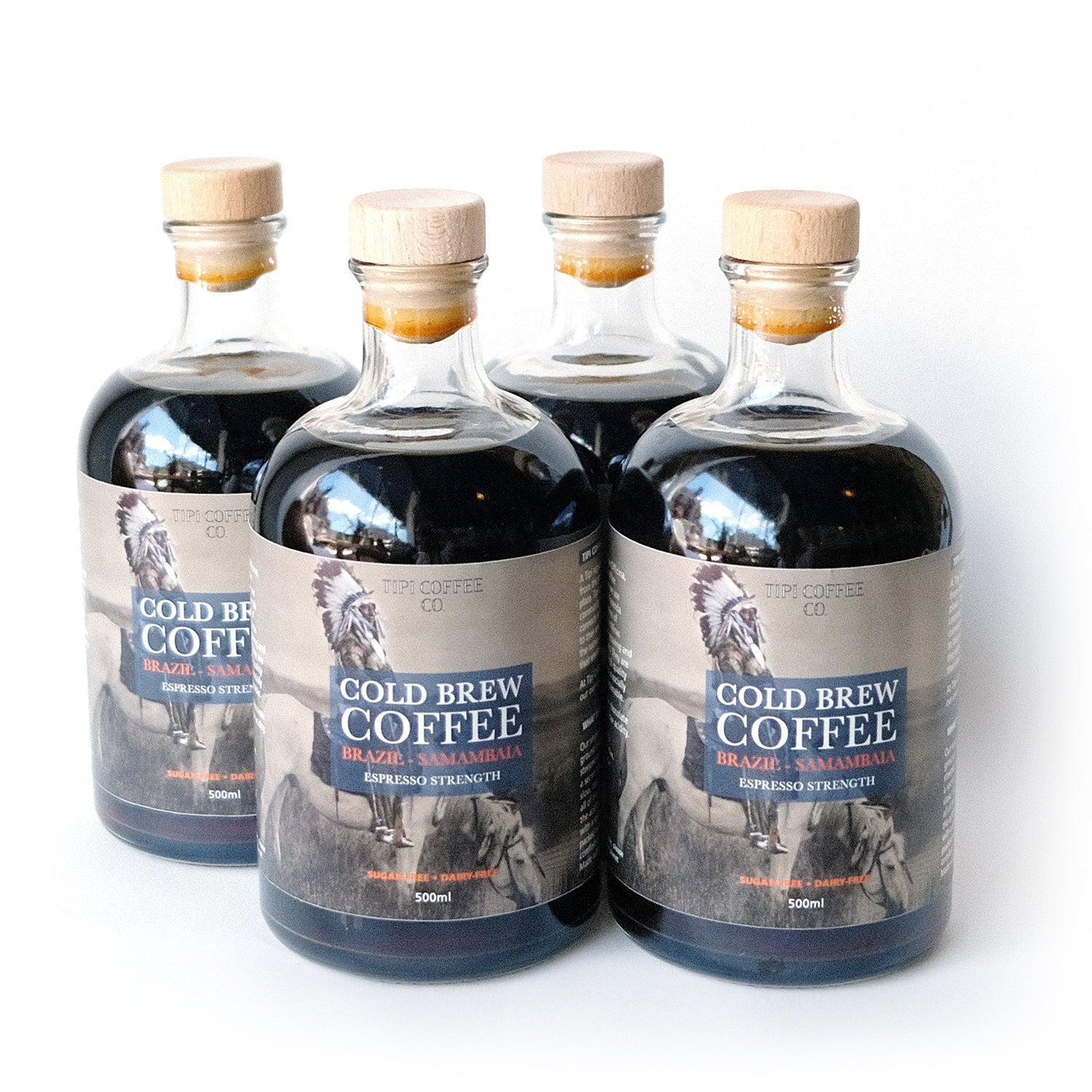 Tipi Coffee Co. Cold Brew Espresso Strength - 4 x 500mL Pack