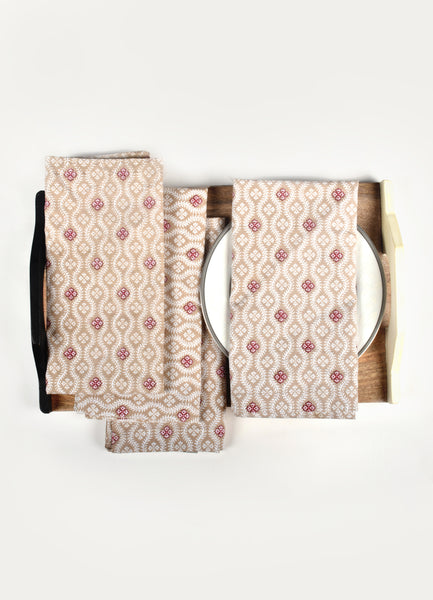 Floral Timber Napkin ( Set of 4 Pcs )