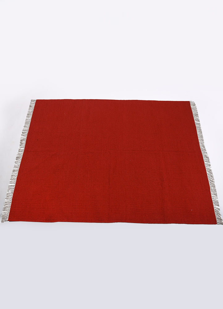 Red Lead Wool Solid Rug