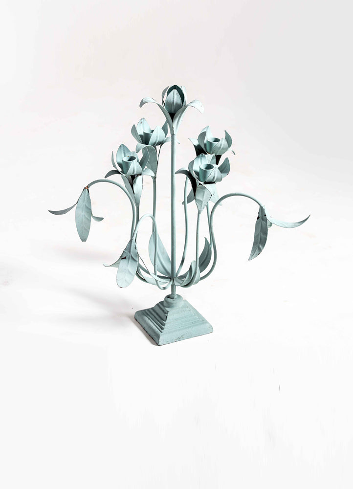 Traditional Green Metal Flower Candle Stand