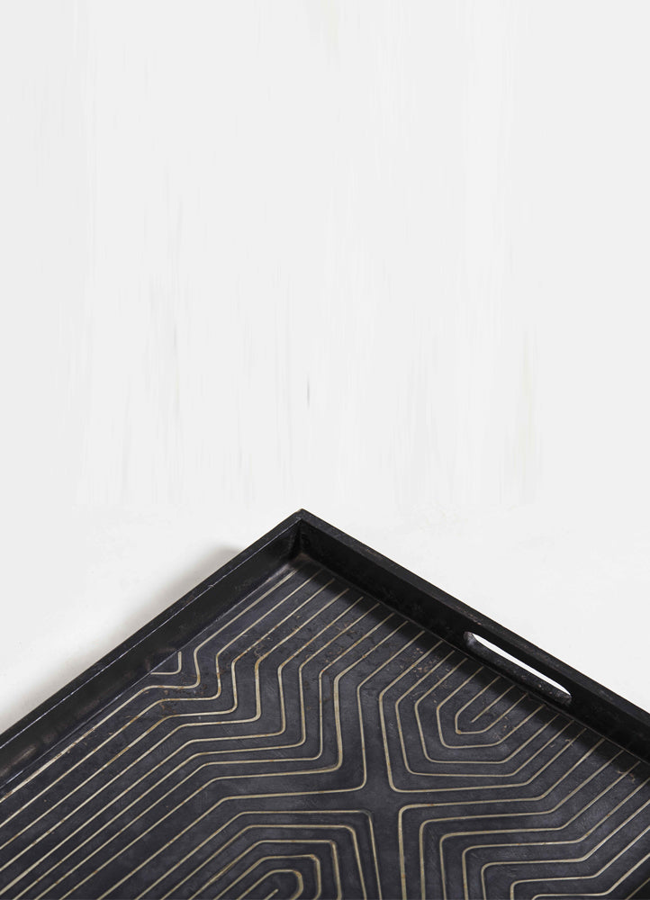Modern Brass Inlay Tray