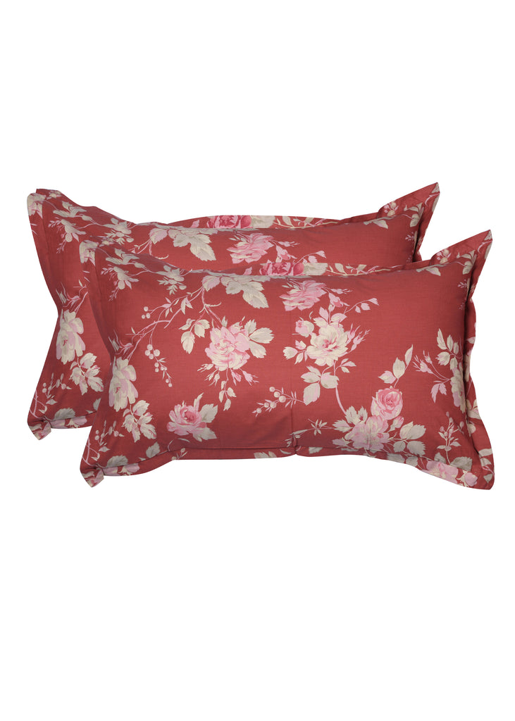 Satya Red Floral Print Pillow Cover Set of 2 Pcs