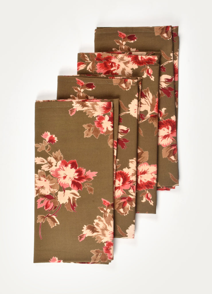 Suza Brown Print Napkin ( Set of 4 Pcs)
