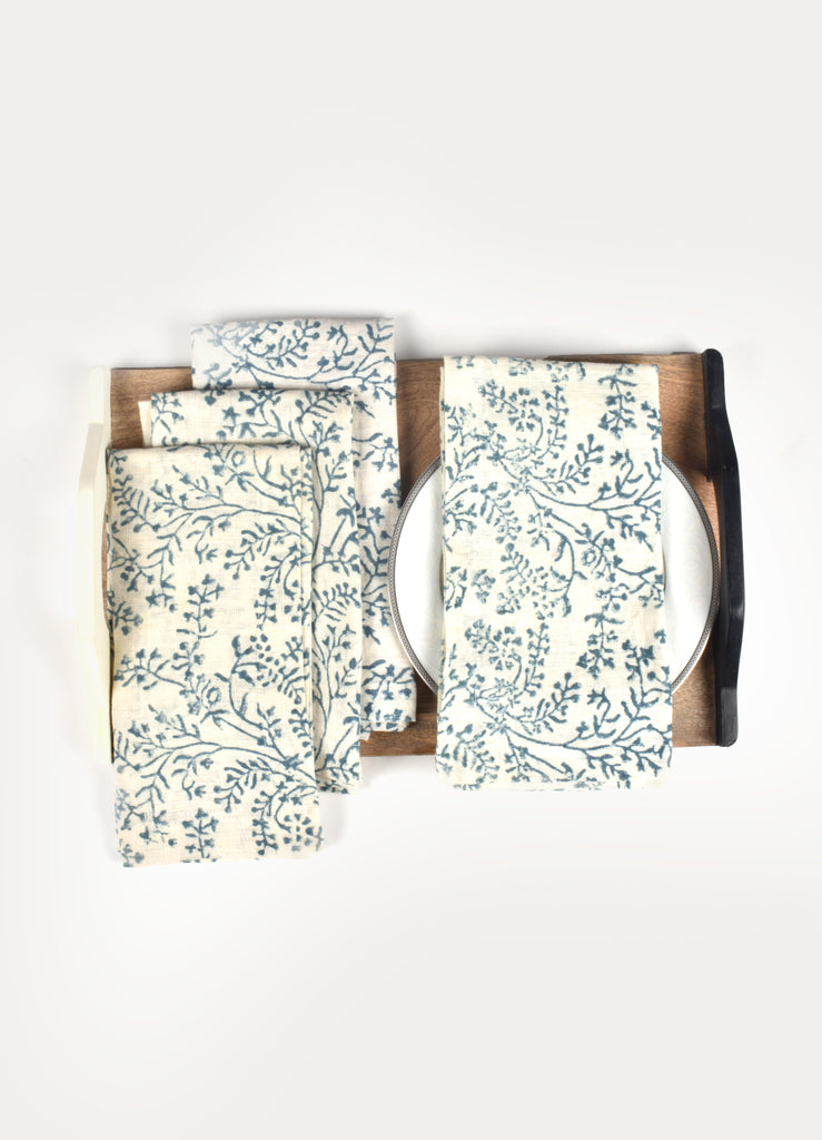 Linen Floral Print Napkin ( Set of 4 Pcs)