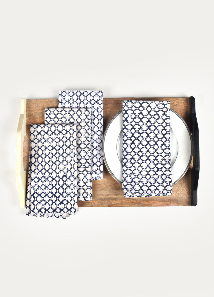 Blue Moon Print Napkin ( Set of 4 Pcs)