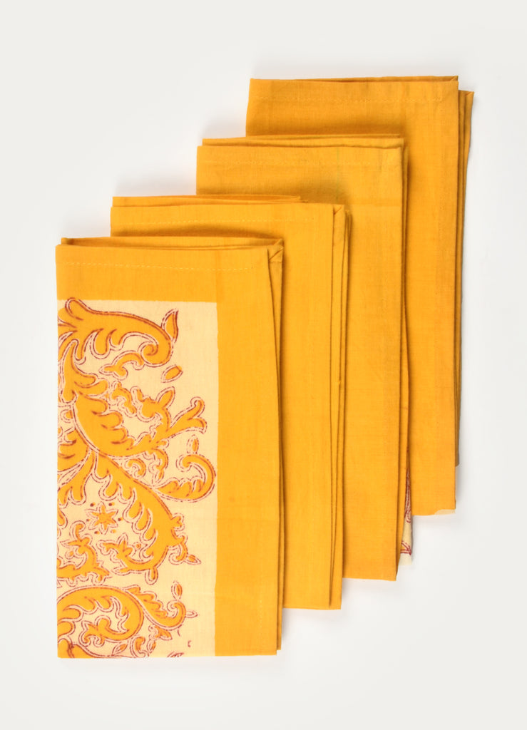 Yellow Rossine Print Napkin ( Set of 4 Pcs)