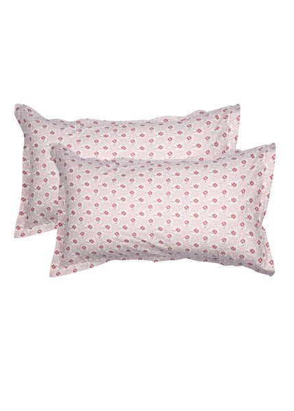 Eva Red Floral Print Pillow Cover Set of 2 Pcs
