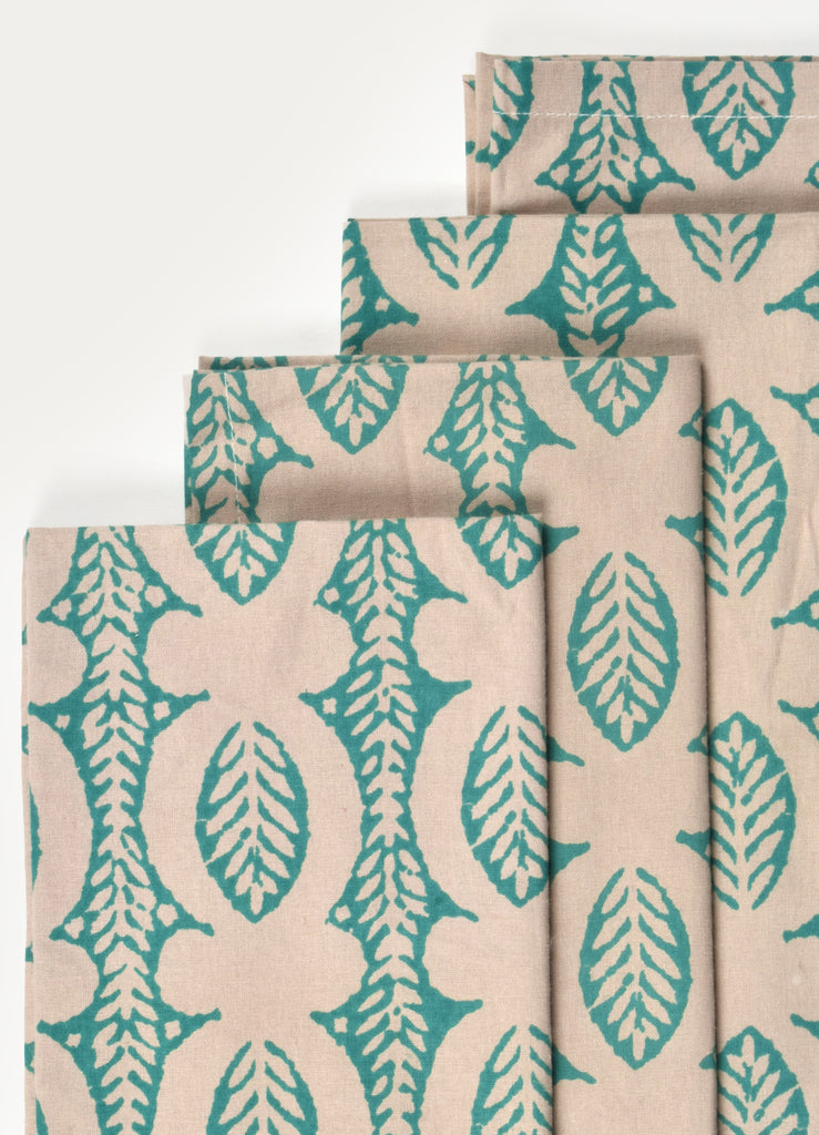 Green Ikhat Print Napkin ( Set of 4 Pcs )