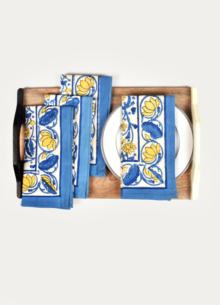 Lotus Blue Napkin ( Set of 4 Pcs)