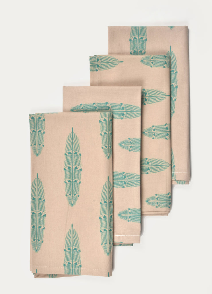 Green Feather Napkin ( Set of 4 Pcs)