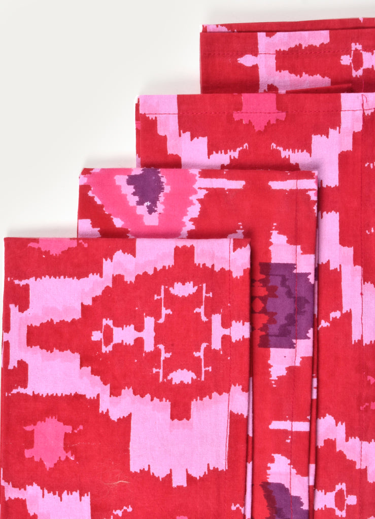 Pink Carnines Print Napkin ( Set of 4 Pcs)