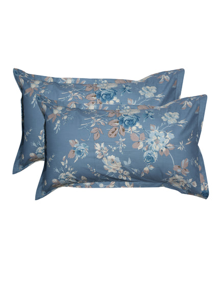 Satya Blue Beige Print Pillow Cover Set of 2 Pcs