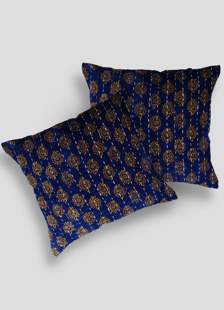 Mara Velvet Kantha Cushion Cover set of 2 Pcs
