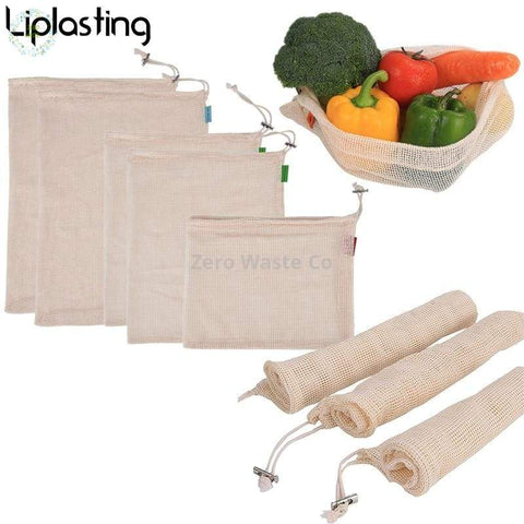 Eco friendly Cotton Reusable Produce Bags Washable Bags for Grocery Shopping Storage Fruit Vegetable - 43x28cm - For the Home - Bags ✓