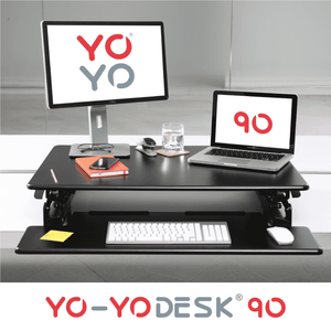 Yo-Yo DESK 90 Black Front View Folded