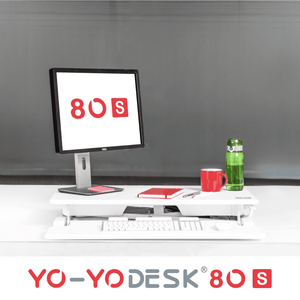 Yo-Yo DESK 80-S White Front View Folded