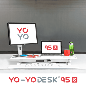 Yo-Yo DESK 95-S White Front View Folded