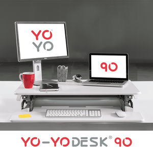 Yo-Yo DESK 90 White Front View Folded