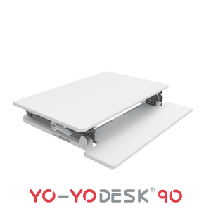 Yo-Yo Desk 90 White Side View Folded
