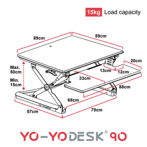 Yo-Yo DESK 90 Side View Measurement