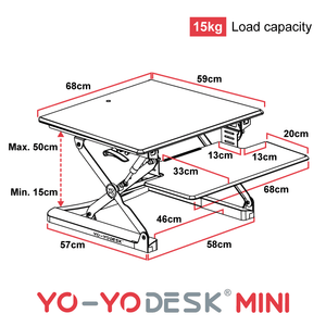 Yo-Yo DESK MINI Side View Measurement