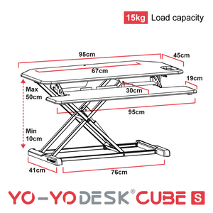Yo-Yo DESK CUBE-S Side View Measurement