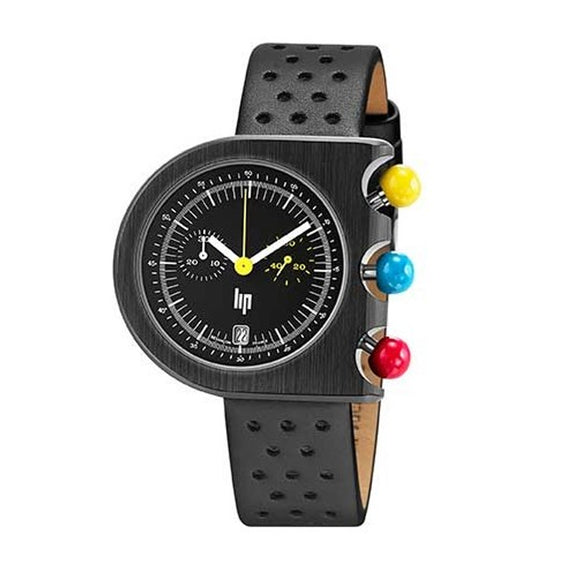 LIP MACH 2000 BLACK LEATHER CHRONOGRAPH 670084