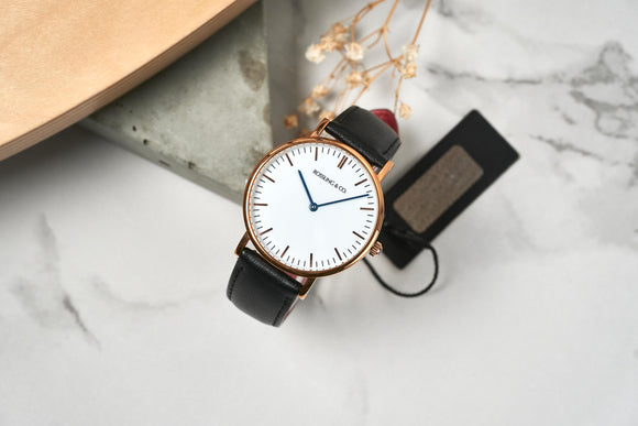 ROSSLING & CO. CLASSIC 36MM - Rose Gold White Dial Black Leather
