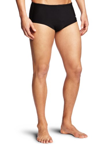 Speedo Men's Xtra Life Lycra Solid 5 Inch Brief Swimsuit, Black, 36