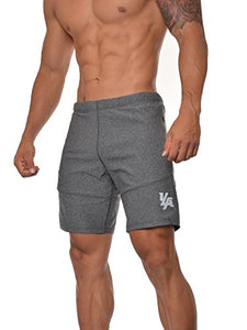 YoungLA Men's Yoga Running Shorts w/Zipper Pockets Grey Medium