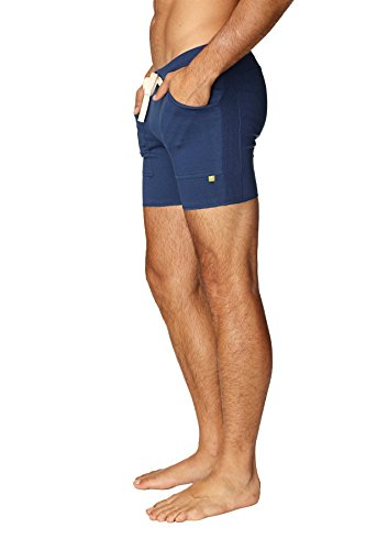 4-rth Mens Transition Yoga Shorts (Medium, Solid Royal Blue)