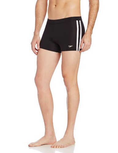 Speedo Men's Xtra Life Lycra Shoreline Square Leg Swimsuit, Black, Large
