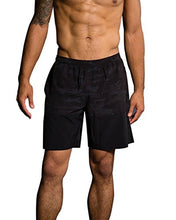 Onzie Hot Yoga Mens Board Shorts 503 Black Camo (Black Camo, Large/X Large)