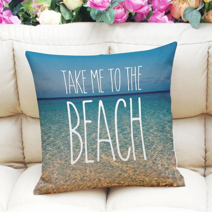 Fresh Ocean Letter Printing Dyeing Sofa Bed Home Decor Pillow Case Cushion Cover
