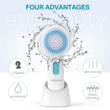 ETEREAUTY SR-03G 5 in 1 Waterproof Electric Facial and Body Cleansing Brush with 5 Brush Heads for Removing Blackhead Exfoliating and Massaging
