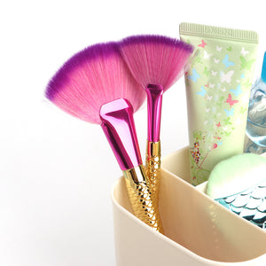 Mermaid Flat Small Fan Foundation Powder Makeup Brush Blush Cosmetic Tools