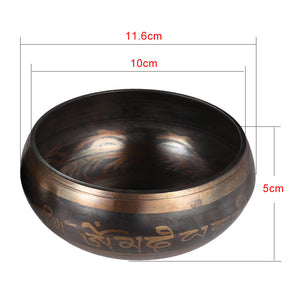 Exquisite 3.9 inch Handmade Tibetan Bell Metal Singing Bowl with Striker for Buddhism Buddhist Meditation & Healing Relaxation