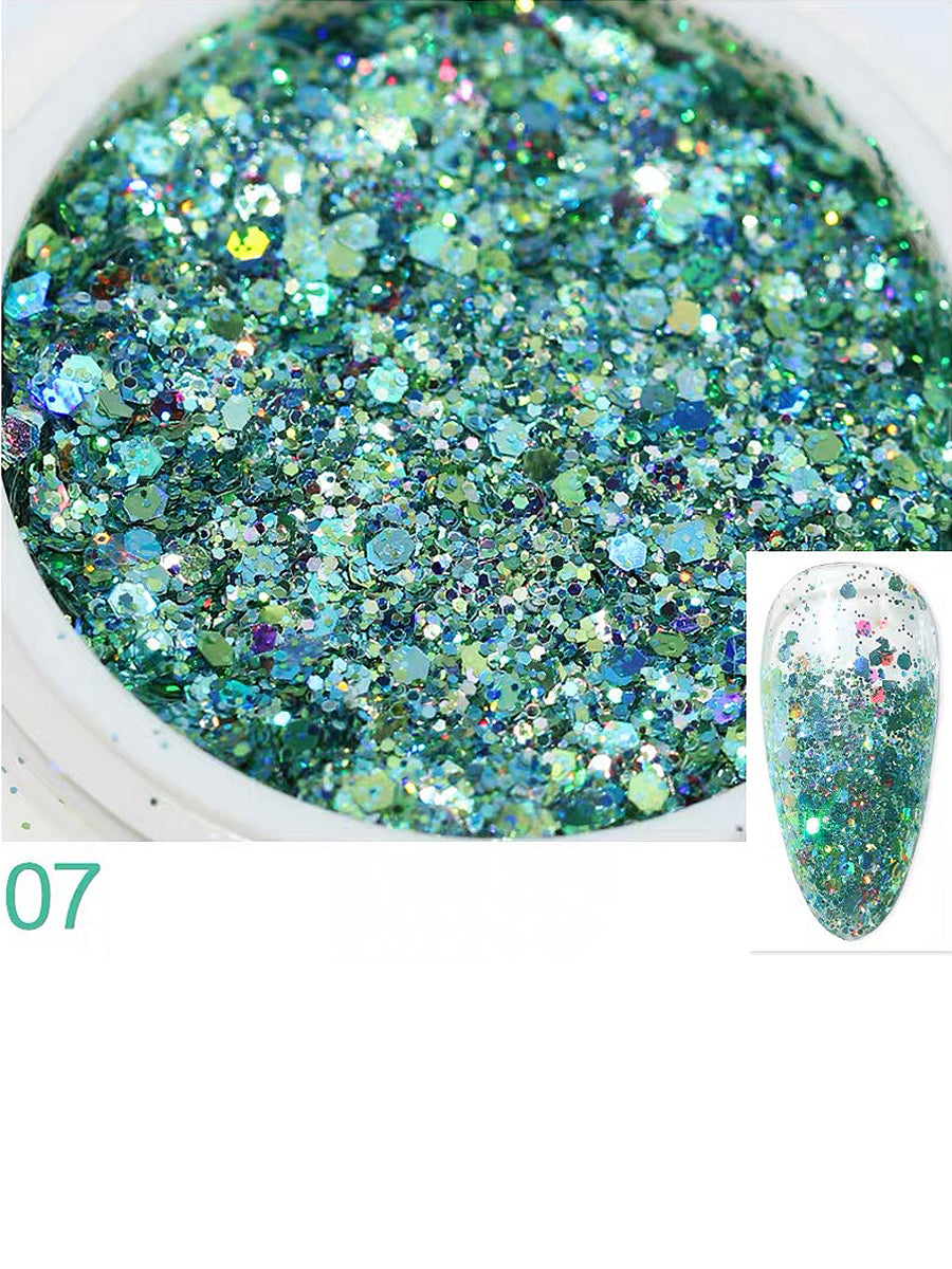 nails glitter blue green