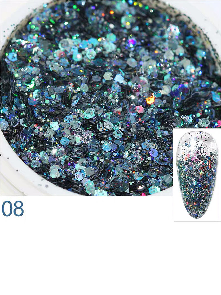 nails glitter night blue