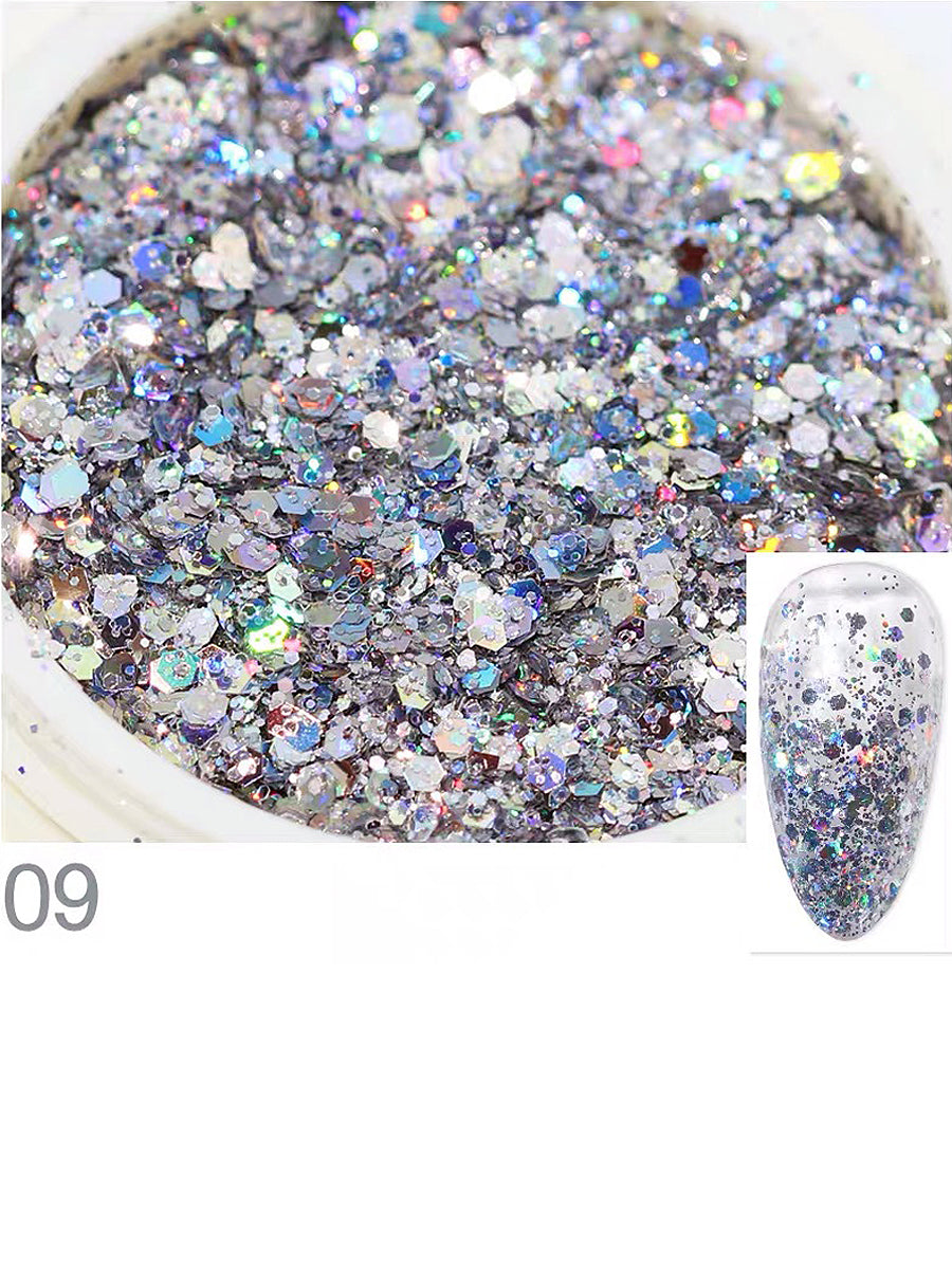nails glitter colorful silver
