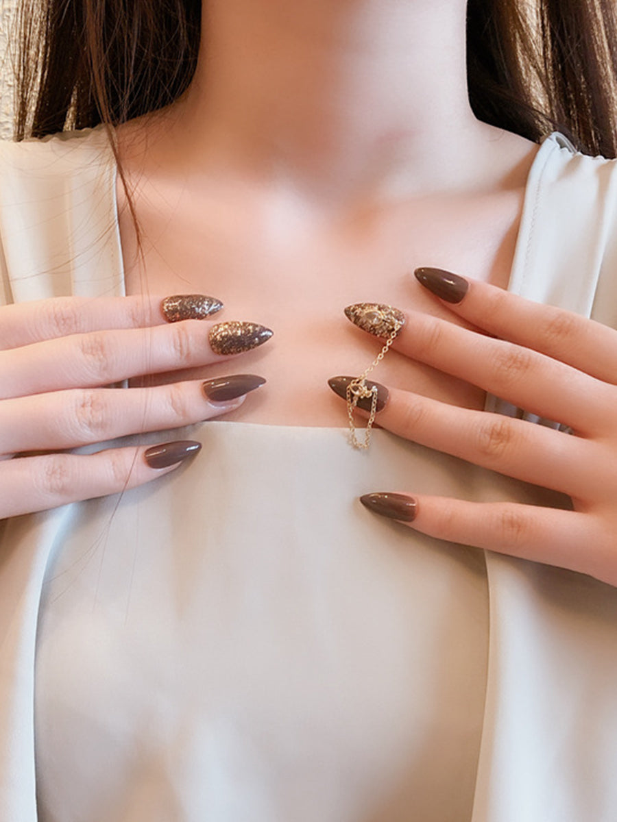brown fake nails design