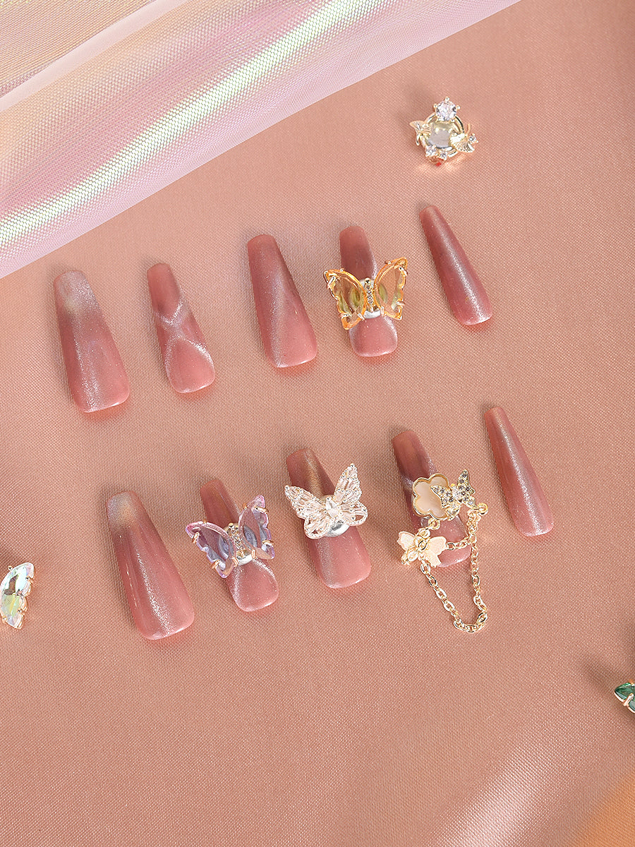 butterfly fake nails