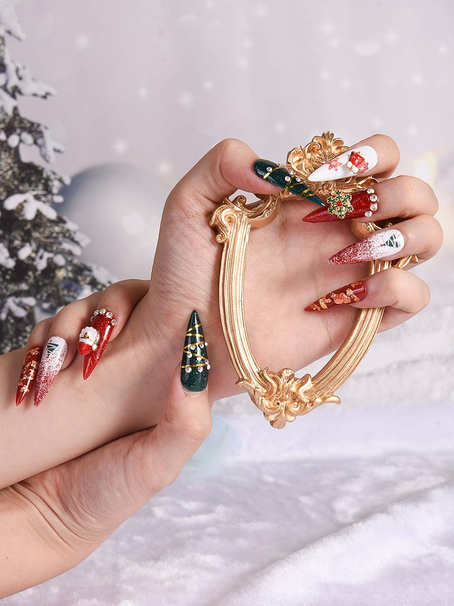 WEATUUY Christmas Press On Nails