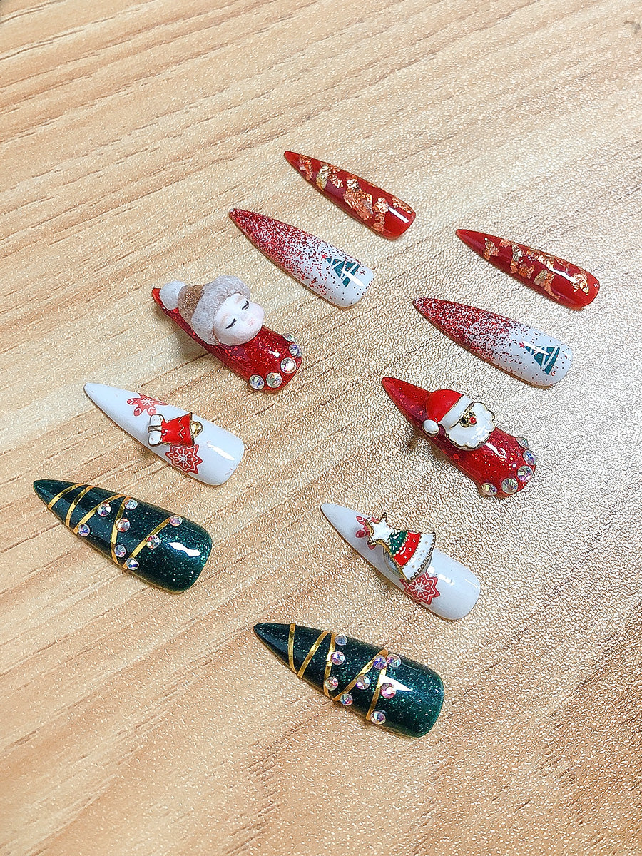 christmas press on nails